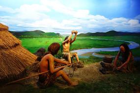 哈克先民在石器时代生活场景蜡像