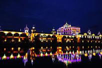 湖岸古堡式建筑灯光景观