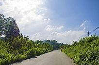 千山积翠山公路树木蓝天