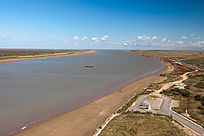俯拍黄河入海壮丽景观