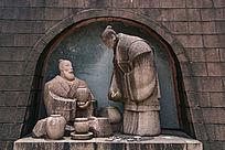 古代陶罐交易人物雕塑