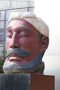 陕北农民扎头巾侧面雕像