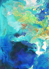 水墨流彩 蓝色抽象画