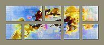 抽象油画背景墙 三联画 多拼画