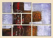 色块抽象背景墙壁画