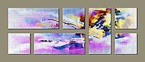 紫色背景墙壁画 多联组合画 抽象画