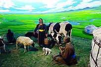 蒙古族牧民草原生活场景