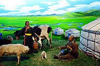 蒙古族牧民草原生活蜡像