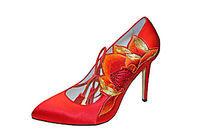 系带红色高跟鞋