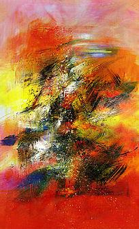 抽象油画 背景墙 无框画