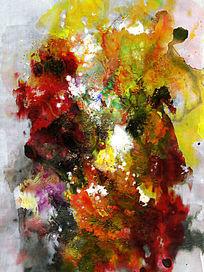 水墨 端景壁画背景墙流彩抽象画