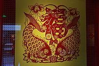 红鲤鱼福字剪纸