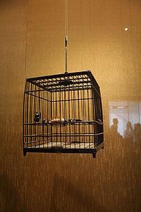 苏州博物馆的文物古董收藏品 鸟笼