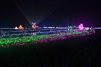 田野中的各色灯光形态