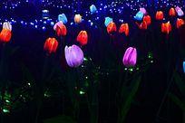 五彩六色的郁金香灯光