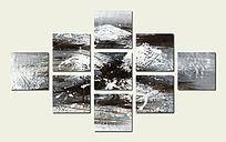 黑白 抽象 背景墙 壁画 多联组合画
