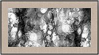 黑白抽象画 水墨 流彩 壁画
