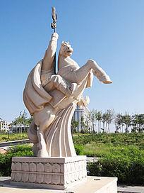 蒙古族骑射战马雕塑