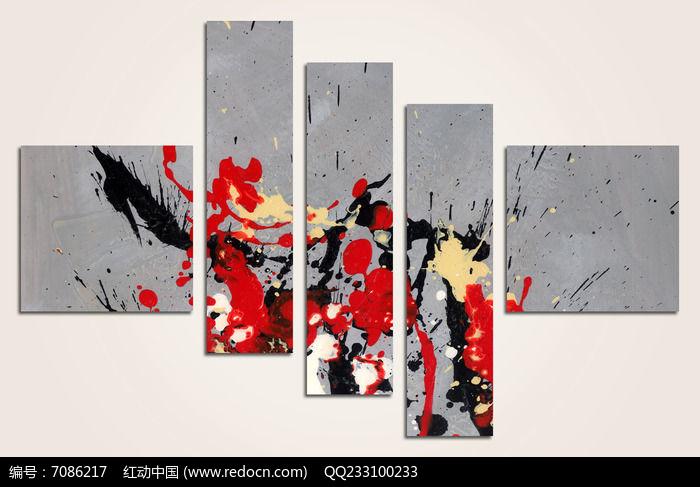 高清抽象画微喷家居装饰帆布油画挂画壁画五联John Wick