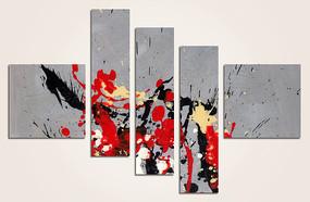 涂鸦五联抽象油画