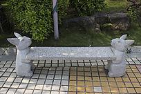 卡通兔子雕刻石凳