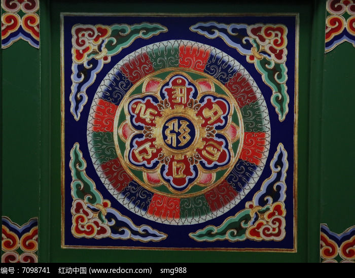 藏式祥云图案木雕图片