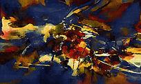 酒店抽象装饰画抽象画背景墙