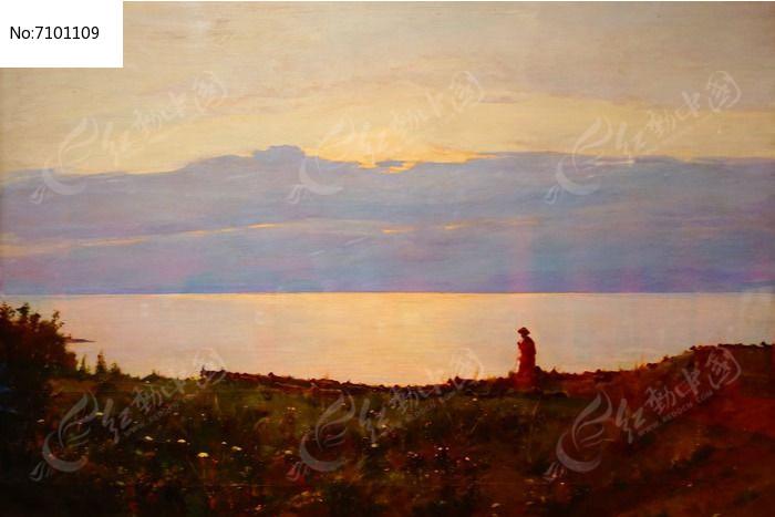 看海风景油画图片
