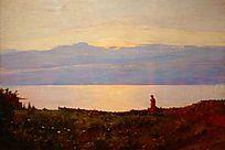 看海风景油画