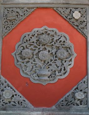 牡丹花图案石雕壁照
