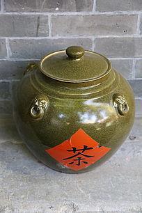 青釉四系茶壶