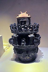 三国吴时期黑釉楼阁佛像陶魂瓶