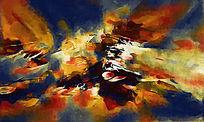 油画背景墙 抽象无框画 客厅背景墙