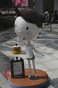 卡通雕塑服务员