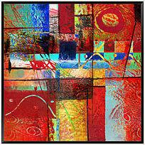 色块抽象油画 现代装饰画