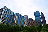 城市蓝色建筑群