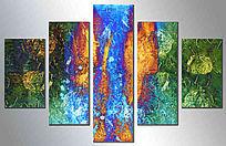 抽象无框画 五联抽象油画