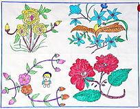 老年儿童画花朵