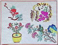 老年儿童画花卉