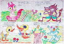 老年儿童画狐狸和鸭子