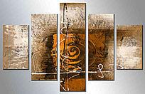 无框画 现代简约 五联抽象油画
