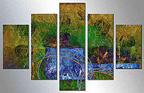 五联抽象画 欧美现代装饰画