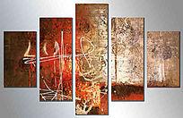 五联抽象无框画