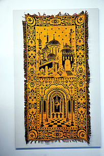伊斯兰人绘建筑图案挂毯