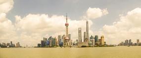 怀旧上海东方明珠陆家嘴全景