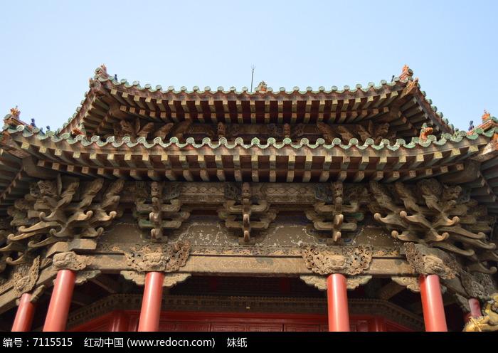 沈阳故宫大政殿中式建筑屋檐图片