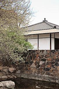 樱花里的日式房屋