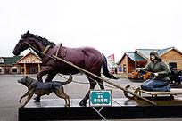 俄式马拉爬犁雕塑