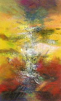 竖版抽象油画壁画背景墙