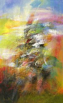 玄关壁画 端景装饰画 竖版抽象油画
